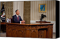 Barack Canvas Prints - President Barack Obama Delivers An Canvas Print by Everett