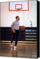 Obama Photo Canvas Prints - President Barack Obama Dribbles Canvas Print by Everett