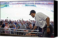 Democrats Canvas Prints - President Barack Obama Greets Baseball Canvas Print by Everett