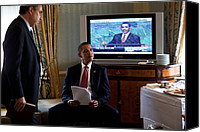 Barack Canvas Prints - President Barack Obama In Front Canvas Print by Everett