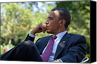 Barack Canvas Prints - President Barack Obama Is Briefed Canvas Print by Everett