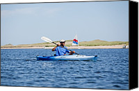 Barack Canvas Prints - President Barack Obama Kayaks While Canvas Print by Everett