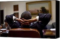 Bswh Canvas Prints - President Barack Obama Leans Back Canvas Print by Everett