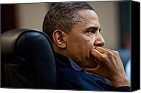 Bswh052011 Canvas Prints - President Barack Obama Listens Canvas Print by Everett