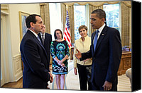 Barack Canvas Prints - President Barack Obama Meets With Duke Canvas Print by Everett