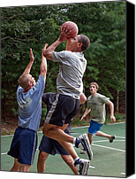 T-shirt Photo Canvas Prints - President Barack Obama Plays Basketball Canvas Print by Everett