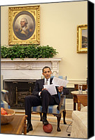 Barack Canvas Prints - President Barack Obama Rests His Foot Canvas Print by Everett