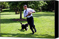 Barack Canvas Prints - President Barack Obama Runs Away Canvas Print by Everett