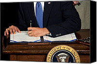 Democrats Canvas Prints - President Barack Obama Signs The Health Canvas Print by Everett