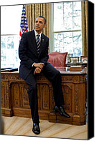 Politics Photo Canvas Prints - President Barack Obama Sits On The Edge Canvas Print by Everett
