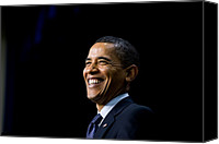 Democrats Canvas Prints - President Barack Obama Smiles While Canvas Print by Everett