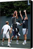 T-shirt Canvas Prints - President Barack Obama Takes A Shot Canvas Print by Everett