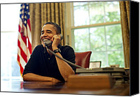 Barack Canvas Prints - President Barack Obama Talks By Phone Canvas Print by Everett