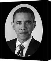 Portrait Barack Obama Canvas Prints - President Barack Obama Canvas Print by War Is Hell Store