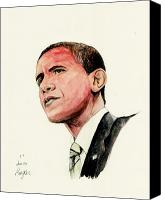 President Obama Canvas Prints - President Barak Obama Canvas Print by Morgan Fitzsimons