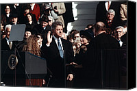 First Lady Canvas Prints - President Bill Clinton Takes The Oath Canvas Print by Everett