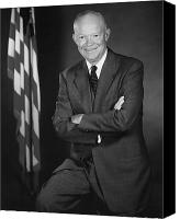 Patriot Photo Canvas Prints - President Eisenhower and The U.S. Flag Canvas Print by War Is Hell Store