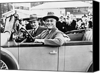 Usa President Canvas Prints - President Franklin D. Roosevelt Driving Canvas Print by Everett