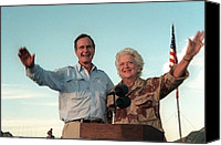 First Ladies Canvas Prints - President George Bush And Barbara Bush Canvas Print by Everett
