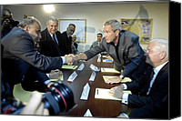 Meetings Canvas Prints - President George W. Bush Shakes Hands Canvas Print by Everett