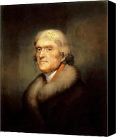 Thomas Jefferson Painting Canvas Prints - President Jefferson Canvas Print by War Is Hell Store