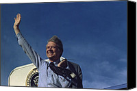 Democrats Canvas Prints - President Jimmy Carter Waving From Air Canvas Print by Everett