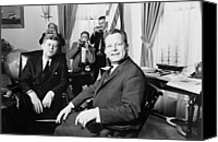 Democrats Canvas Prints - President John F. Kennedy And Mayor Canvas Print by Everett
