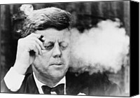 Democrats Canvas Prints - President John Kennedy, Smoking A Small Canvas Print by Everett