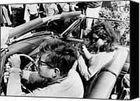 Democrats Canvas Prints - President Kennedy Drives An Open Car Canvas Print by Everett