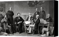 United States Drawings Canvas Prints - President Lincoln and His Cabinet Canvas Print by War Is Hell Store