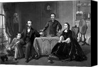 Abe Lincoln Drawings Canvas Prints - President Lincoln And His Family  Canvas Print by War Is Hell Store
