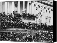Politics Photo Canvas Prints - President Lincoln gives his second inaugural address - March 4 1865 Canvas Print by International  Images