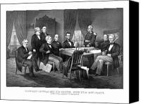 Abe Lincoln Drawings Canvas Prints - President Lincoln His Cabinet and General Scott Canvas Print by War Is Hell Store