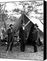 Politician Canvas Prints - President Lincoln meets with Generals after victory at Antietam Canvas Print by International  Images