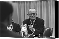 Lyndon Canvas Prints - President Lyndon Johnson Gesturing Canvas Print by Everett