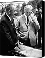 Lyndon Canvas Prints - President Lyndon Johnson Gives German Canvas Print by Everett