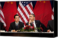 Meetings Canvas Prints - President Obama And Chinese President Canvas Print by Everett