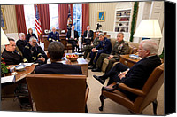 Bswh052011 Canvas Prints - President Obama And Defense Secretary Canvas Print by Everett