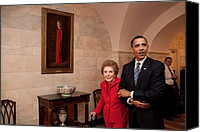 Democrats Canvas Prints - President Obama And Former First Lady Canvas Print by Everett