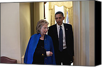 Bswh052011 Canvas Prints - President Obama And Hillary Clinton Canvas Print by Everett