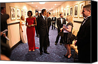 Barack Obama Portraits Canvas Prints - President Obama And Michelle Obama Wait Canvas Print by Everett
