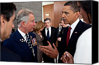 Bswh052011 Canvas Prints - President Obama And Prince Charles Talk Canvas Print by Everett