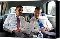 Meetings Canvas Prints - President Obama And Russian President Canvas Print by Everett