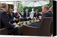 Bswh052011 Canvas Prints - President Obama And Russian Prime Canvas Print by Everett