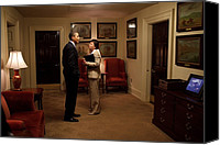 Bswh052011 Canvas Prints - President Obama And Valerie Jarrett Canvas Print by Everett