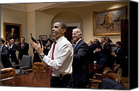 Bswh052011 Canvas Prints - President Obama And Vp Biden Applaud Canvas Print by Everett