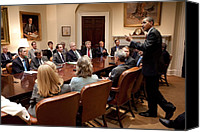 Bswh052011 Canvas Prints - President Obama At A Bipartisan Meeting Canvas Print by Everett