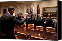Meetings Canvas Prints - President Obama Bids Farewell Canvas Print by Everett