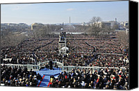 Democrats Canvas Prints - President Obama Delivers His Inaugural Canvas Print by Everett