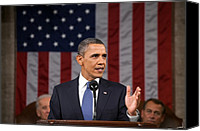 Bswh052011 Canvas Prints - President Obama Delivers His State Canvas Print by Everett
